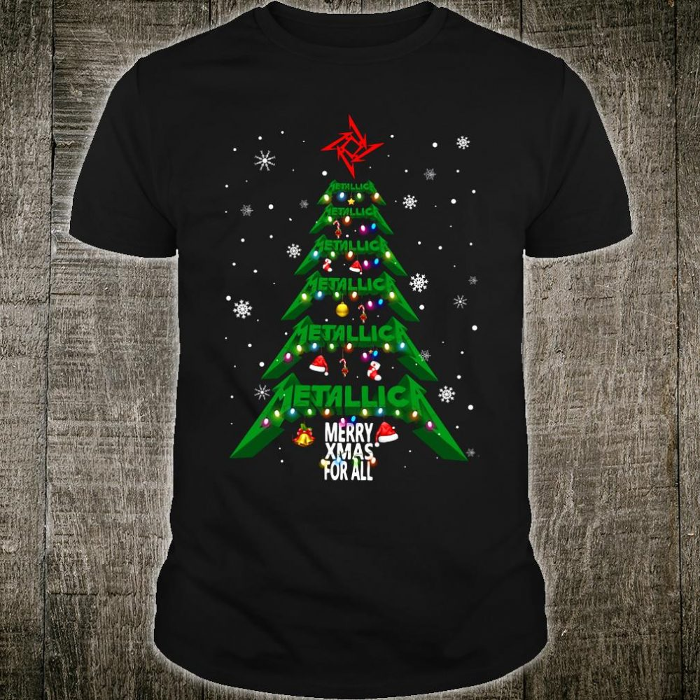 Metallic merry xmas for all christmas tree shirt