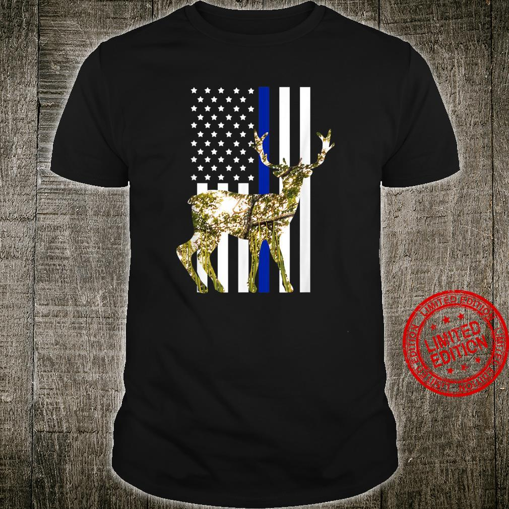 Nature Deer American Flag Retro Hunting Pastime Hunter Shirt