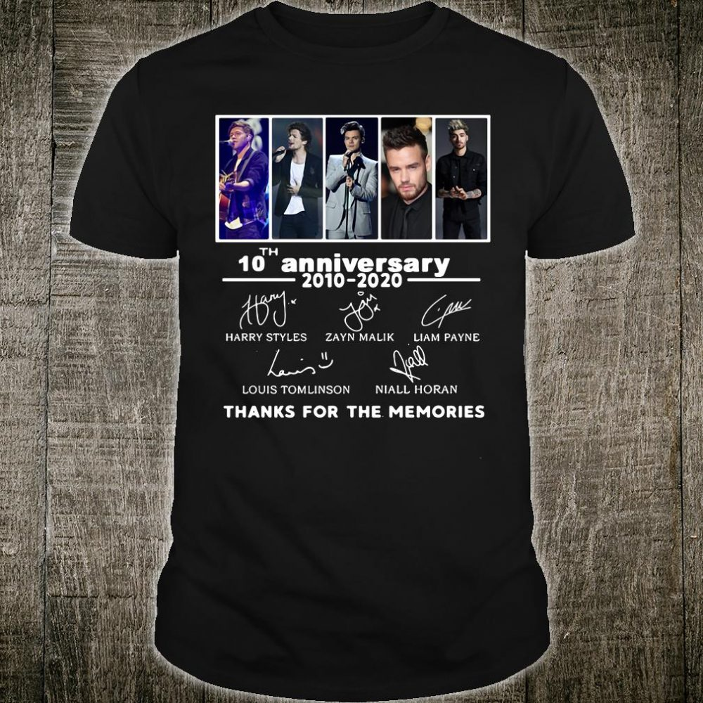 One On 10th anniversary 2010 2020 signatures thanks for the memories shirt