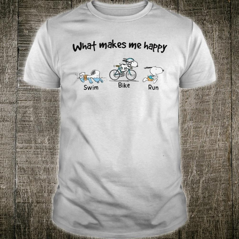 Snoopy what makes me happy swim bike and run shirt