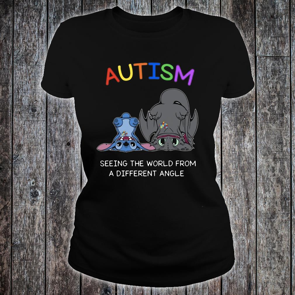 Stitch And Toothless Autism seeing the world from different angle shirt ladies tee