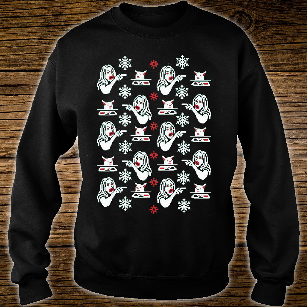 Woman yelling at cat ugly shirt sweater