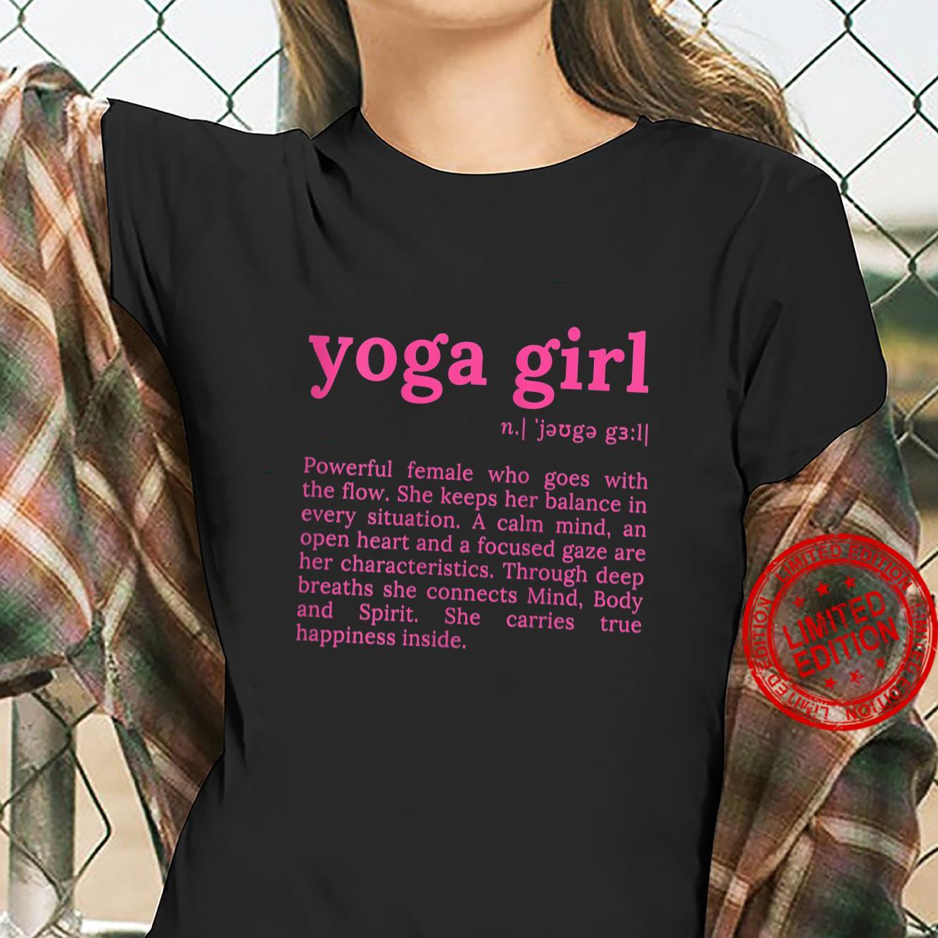 Womens Yoga Girl Definition Motivation Quote with Sayings Shirt ladies tee