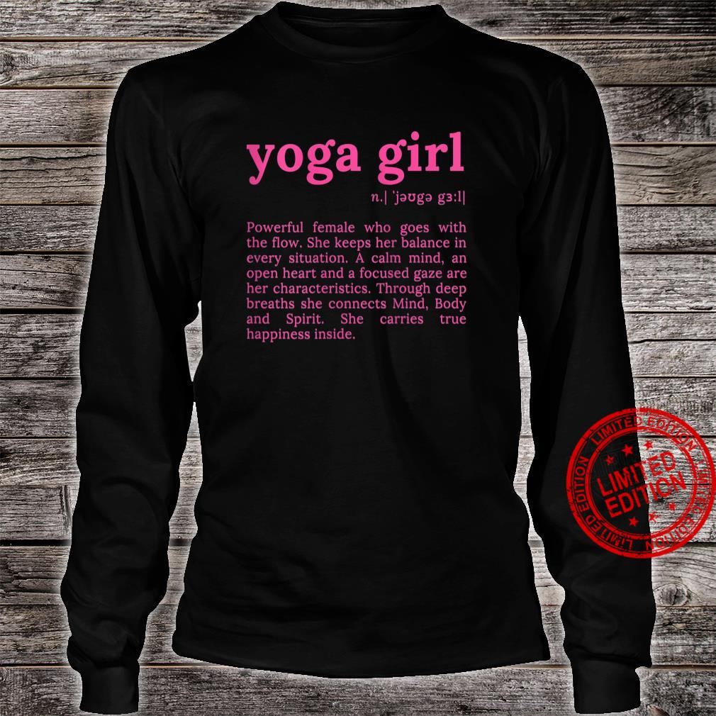 Womens Yoga Girl Definition Motivation Quote with Sayings Shirt long sleeved